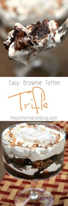 An amazing trifle recipe with brownies, toffee, creamy pudding and light whipped cream all layered together for the perfect easy dessert and kids love it!