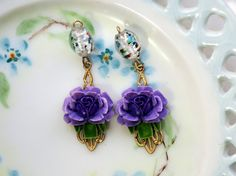 Vintage Rose Charms Flower Filigree Dangle by purpleviolets77
