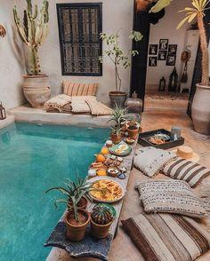 Breakfast in the pool Marrakech Morocco. Photo by - Breakfast in the pool Marrakech Morocco. Photo by - Exterior Design, Interior And Exterior, House Ideas Exterior, Small Home Interior Design, Bohemian Interior Design, Interior Garden, Interior Designing, Patio Design, Interior Ideas