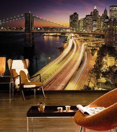 Praxis | Met dit behang heb je uitzicht op de stad in de nacht.