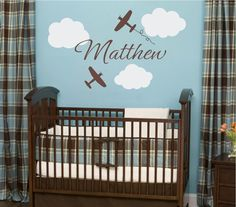"Airplane Wall Decals - Airplane Cloud and Personalized Name Vinyl Wall Decal for Boy Baby Nursery or Boys Room 22""H x 36""W Wall Art FS106. $45.00 USD, via Etsy."