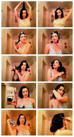 Dita doing her hair! – http://thepinuppodcast.com  re-pinned this because we are trying to make the pinup community a little bit better.