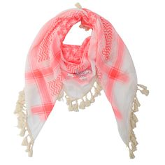 Scarf with tassels and a touch of pink.