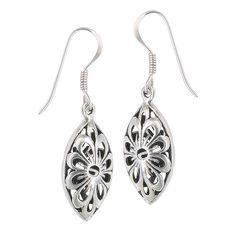 Sterling Silver Etched Daisy Flower Dangle Earrings