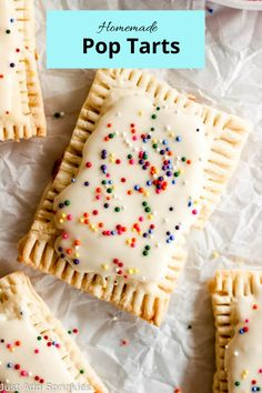 You can make your own pop tarts at home! And they're so much yummier than the store bought. These have a thick strawberry filling and are coated with a yummy vanilla glaze and of course, garnished with sprinkles! Just Desserts, Delicious Desserts, Dessert Recipes, Yummy Food, Yummy Treats, Sweet Treats, Baking Recipes, Sweet Recipes, Vanilla Glaze