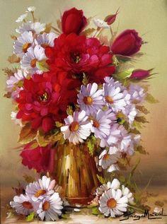 12-Beaux tableaux de Jorge Maciel Flower Vases, Flower Art, Flower Arrangements, Acrylic Painting Canvas, Watercolor Paintings, Canvas Art, Art Floral, Beautiful Roses, Beautiful Flowers