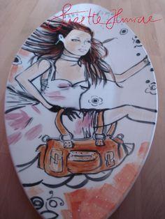 Oval Platter 'KateMoss' handpainted by SuzetteHuwae. *SuzetteHuwae Original Collection.