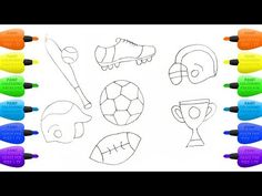 How to Draw Set for Sport   Coloring Pages: Football, Baseball, Balls, Bits, Boots and Cup - Vidinterest