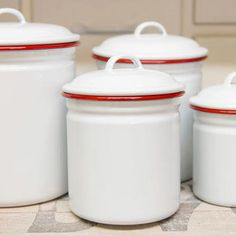 Crow Canyon Home Enamelware Canister Set, 4-Piece | V37 | ROVE AND SWIG