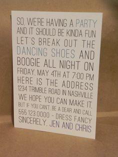 Save the Date / Rehearsal Dinner / Party / Wedding Printed Invitation. Customize through Darby Cards!