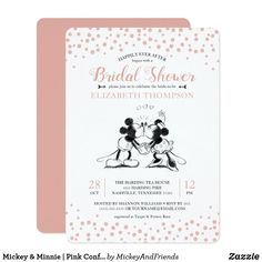 This sweet bridal shower invitation features your favorite Disney characters Mickey and Minnie Mouse kissing on a pink confetti background. Personalize by adding all your Bridal Shower details. Disney Invitations, Bridal Shower Invitations, Modern Invitations, Zazzle Invitations, Wedding Guest Book, Wedding Day, Dream Wedding, Wedding Tips, Perfect Wedding
