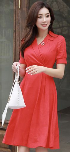 StyleOnme_Linen Collared Flared Dress #red #dress #flared #collared #stylish #feminine #koreanfashion #kstyle #kfashion #summertrend #dailylook
