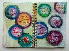 Overheard two-page Art Journal by nikimaki, via Flickr