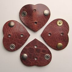 CUSTOMIZABLE Leather earbud / earphone / cable organizers in brown, handmade by RinartsAtelier