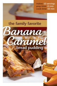 Upgrade your bread pudding with this delicious and easy recipe for banana caramel bread pudding! Warm and comforting, it's sure to become the next family favorite! Banana Bread Recipes, Fruit Recipes, Sweet Recipes, Cake Recipes, Dessert Recipes, Cooking Recipes, Pudding Recipes, Recipies, Caramel Bread Pudding