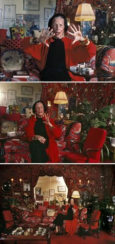 "Diana Vreeland in her New York apartment. Diana's signature color was red, but she never found the perfect shade, which was, according to her, ""the color of a child's cap in any Renaissance portrait."" The pillows in her home were infused with perfume via hypodermic needles."