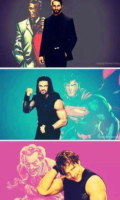 Seth - TwoFace / Rom - Superman (still prefer Bane) / Dean - Joker ;)