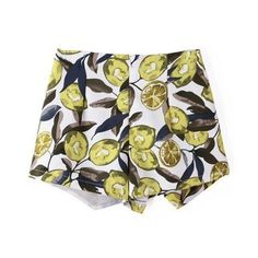 LUCLUC Yellow Irregular Printing Layered Shorts ($26) ❤ liked on Polyvore featuring shorts, lucluc, bottoms and yellow shorts