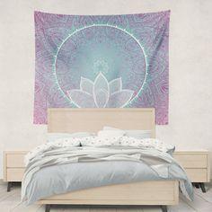Lotus Mandala Tapestry Wall Hanging Art by DesignBohemian on Etsy