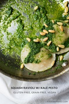 Squash Ravioli w/ Kale Pesto & Pine Nuts (gluten-free, grain-free, vegan)