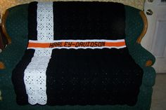 Harley Davidson Crochet Afghan my own design simply stated.