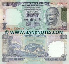 India 100 Rupees (1996)    Front: Mahatma Gandhi; Back: Himalaya mountains; Watermark: Mahatma Gandhi.