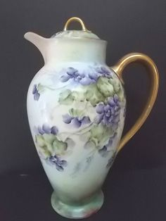 Exceptional GDA Limoges chocolate pot, hand painted violets