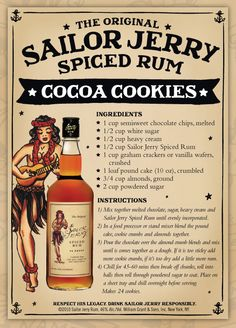 Sailor Jerry Spiced Rum No-bake Cocoa Cookies Cookie Desserts, Just Desserts, Cookie Recipes, Rum Recipes, Dessert Recipes, Margarita Recipes, Vegan Recipes, Sailor Jerry Rum, Rum Balls