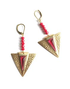 Fabulous Red and Golden Brass Geometric Earrings with Vintage Glass Rhinestones and Glass Beads by MissyTRocks on Etsy
