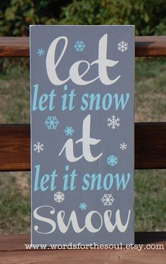 Let it Snow Christmas Winter Typography Subway Art Wood Sign.
