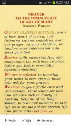 Novena to the Immaculate Heart of Mary Prayers To Mary, Novena Prayers, Special Prayers, Prayers For Healing, Catholic Prayers, Spiritual Prayers, Angel Prayers, Catholic Religion, Catholic Quotes
