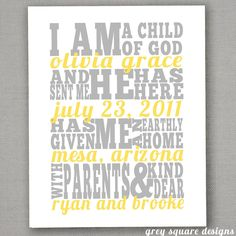 I am a child of God printable- this is a cute announcement idea