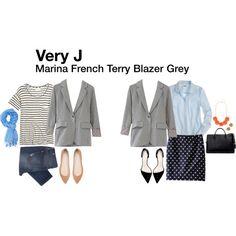 """Marina French Terry Blazer"" by katrinalake on Polyvore"