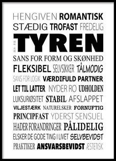 Tyren Plakat - Tekstcollage med stikord