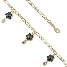 """Good Luck Charm Solid Dangling Dainty Flowers 7.5"""" Fancy 14k yellow gold over Brass Figaro Link Chain Bracelet Anklet Gift"""