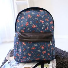 Sweet Floral Print Blue Canvas Backpack only $26 in ByGoods.com!