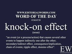Word of the Day (knock-on - Editorial Words Essay Writing Skills, English Writing Skills, Writing Words, Learning English, English English, English Idioms, English Phrases, Learn English Words, Interesting English Words