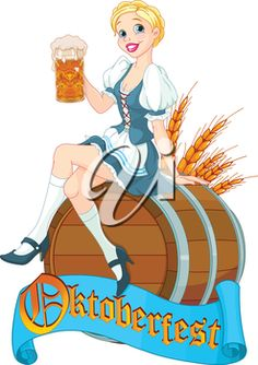 Royalty Free Clipart Image of a German Girl on an Oktoberfest Keg
