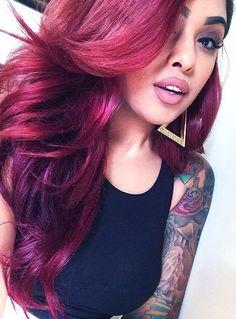 ..Gorgeous dark wine hair color.