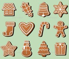 Buy Gingerbread Christmas Cookies by pvg on GraphicRiver. A baker's dozen of iced gingerbread cookies in fun Christmas holiday shapes! Christmas Dishes, Christmas Makes, Christmas Baking, Christmas Themes, Christmas Holidays, Christmas Crafts, Christmas Decorations, Christmas Gingerbread, Gingerbread Cookies