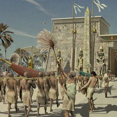 Religious procession in ancient Egypt by Arturo Asensio
