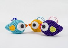 Crochet Ornament - Alice the Bird - Home Decor, Birthday, Nursery, Bridal Shower, Baby Shower - Custom Colors