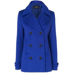 Jaeger Short Pea Coat, Blue (235 CAD) ❤ liked on Polyvore featuring outerwear, coats, jackets, coats & jackets, casacos, wool pea coat, double breasted pea coat, woolen coat, short coat and short pea coat