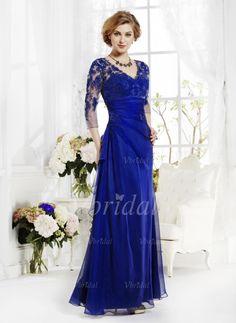 Kleider für die Brautmutter - $150.06 - A-Linie/Princess-Linie V-Ausschnitt Bodenlang Chiffon Spitze Kleid für die Brautmutter mit Rüschen Applikationen Spitze (00805008703)