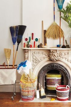 Ethically produced, Lostine's Azure Stitched Broom is a detailed and functional curio.