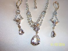 Bridal Delicate Sparkling Necklace and Earrings by CalicoCandys, $18.50