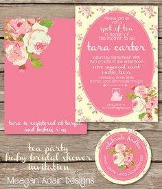 Tea Party Chic Roses Baby or Bridal Shower by meaganadair on Etsy, $1.75