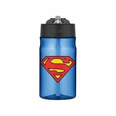 "Thermos Superman Man of Steel Hydration Bottle with Flip up Straw - 12 oz - Thermos - Babies""R""Us Fancy Water Bottles, Hydration Bottle, Superman Man Of Steel, Babies R Us, Running Gear, Kids Backpacks, Christmas Shopping, Purple, Future Baby"