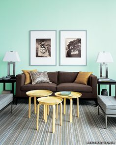 Three lightweight coffee tables can be clustered and quickly rearranged as needed.  With how-to instructions.