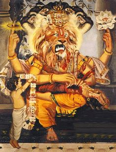 "Narasimha (Sanskrit: नरसिंह), whose name literally translates from Sanskrit as ""Man-lion,"" is an avatar of the Lord Shri Vishnu. Shree Krishna, Krishna Art, Krishna Lila, Krishna Avatar, Indian Art Gallery, Shiva Wallpaper, Hd Wallpaper, Lord Mahadev, Lord Vishnu Wallpapers"